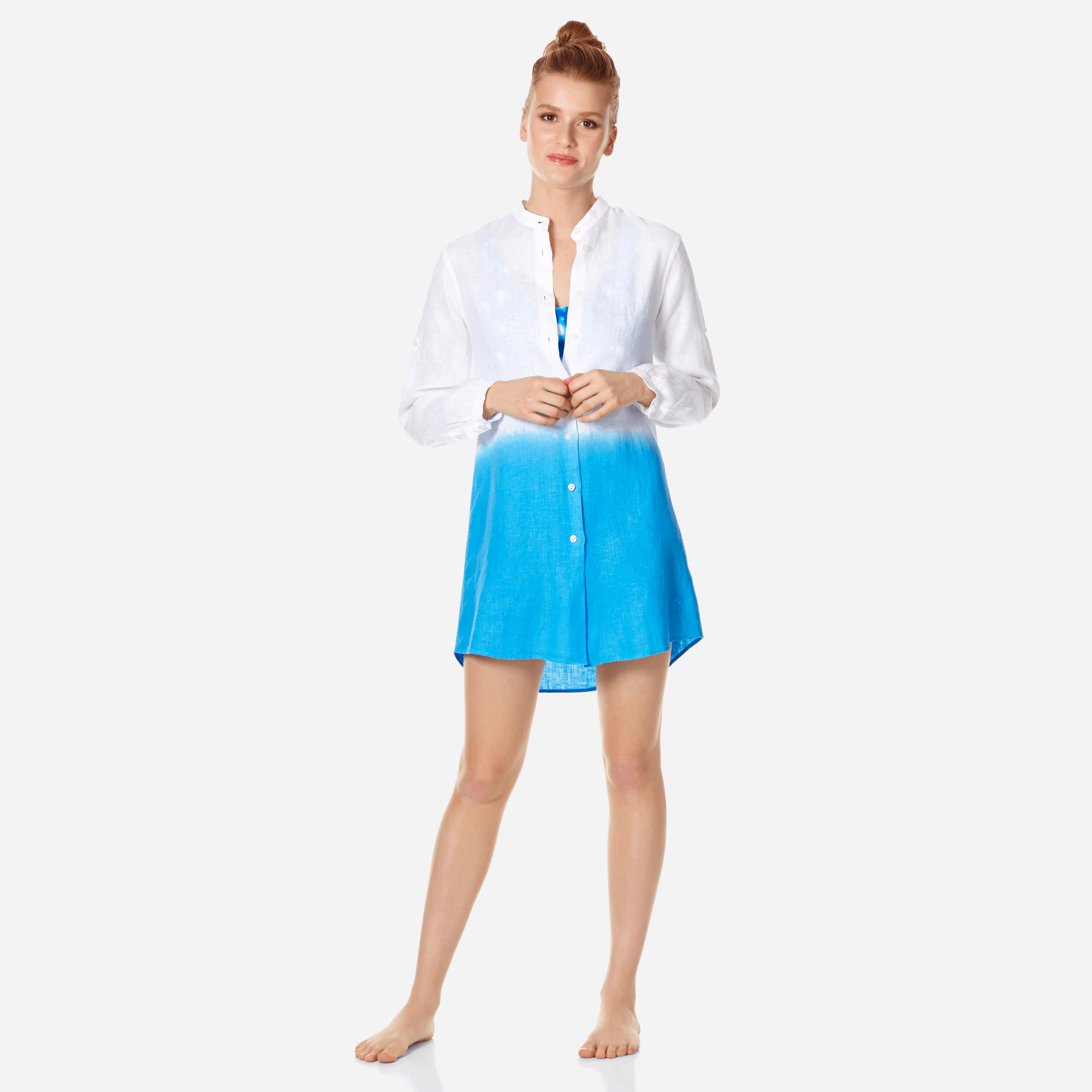 Vilebrequin Women Linen Shirt Dress Tie And Dye In Blue