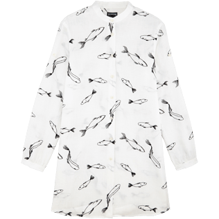 Donna Altri Ricamato - Camicia donna in lino con colletto rigido e ricamo Fish Dance, Bianco front