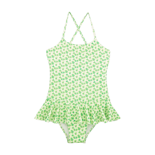 Girls One Piece Printed - Micro Turtles Hawaï One piece swimwear, Veronese green front