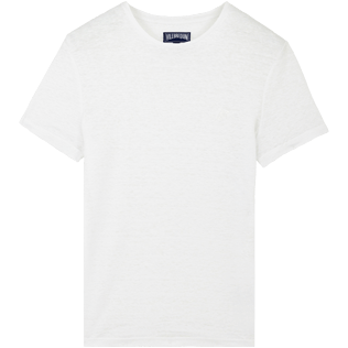 Men Others Solid - Men Linen Jersey T-Shirt Solid, White front