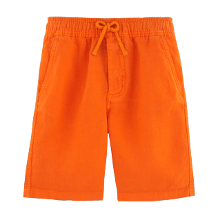 Boys Shorts Solid - Solid Linen bermuda shorts, Papaya front