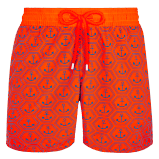 Men Ultra-light classique Printed - Men Swim Trunks Ultra-Light and Packable Ancre de Chine Fluo, Neon orange front