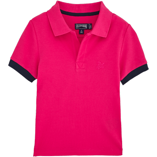 Boys Polos Solid - Boys Cotton Pique Polo shirt Solid, Shocking pink front