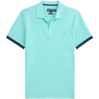 Men Polos Solid - Cotton pique polo, Lagoon front