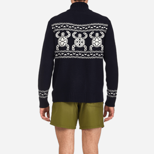 Men Sweaters Printed - Italian merino/cashmere sweater , Navy supp2