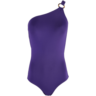 Women One piece Solid - Women Asymmetric One Piece Swimsuit Solid Water, Amethyst front