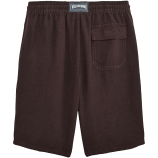 Men Others Solid - Men Italian Pockets Linen Bermuda Shorts Solid, Chocolate back