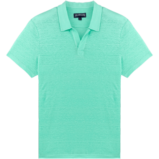 Men Others Solid - Men Linen Jersey Polo Shirt Solid, Mint front