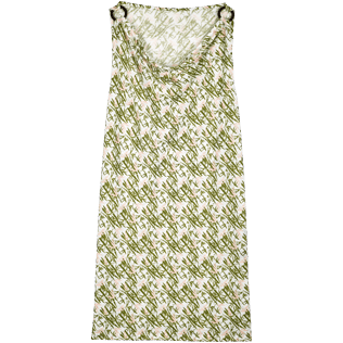 Women Dresses Printed - Women Cowl neck Linen Jersey Dress Bamboo Song, Peony front