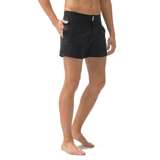 Men Short Solid - Smoking Tuxedo fitted Swim shorts, Black supp1