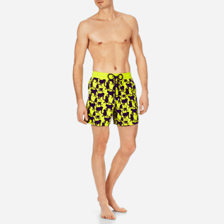 Men Classic Printed - Men Swimwear Flocked Happy Monkey, Chartreuse frontworn