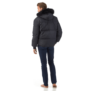 Men Vests AND Jackets Printed - Ski Resort Quilted down jacket, Navy backworn