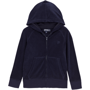 Boys Others Solid - Solid Terry Zipped terry jacket, Navy front