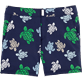Men Fitted Printed - Multicolor Turtles Fitted cut Swim shorts, Navy front