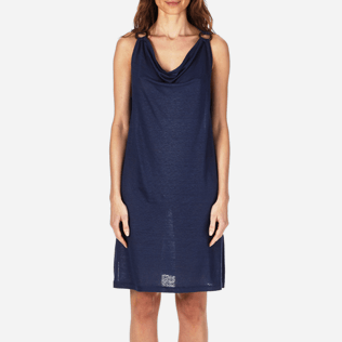 Women Dresses Solid - Women Cowl neck Linen Jersey Dress Solid, Navy supp1