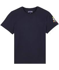 Men Others Printed - Men Cotton T-Shirt Tortues Multicolours, Navy front