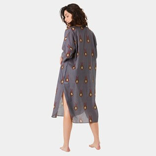 Women Others Printed - Women Cotton Long Cover-up Paon Paon, Navy backworn