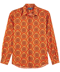 Andere Bedruckt - 1975 Rosaces Unisex Sommerhemd aus Baumwollvoile, Apricot front
