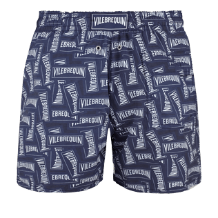 Men Classic Printed - Men swimtrunks Vilebrequin Labels, Navy back