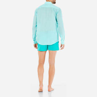 Others Solid - Unisex Linen Voile Shirt Solid, Lagoon backworn