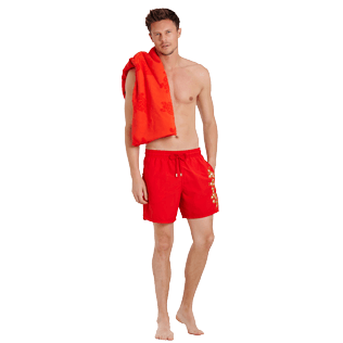 Men Classic Embroidered - Men Swimtrunks Placed embroidery Christmas Crackers, Medicis red supp2