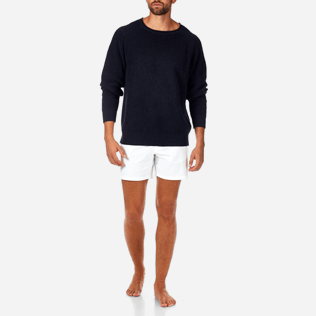Homme Pulls Uni - Pull Over Coton Lin, Bleu jean supp4