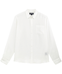 Men Others Solid - Men Linen Shirt Solid, White front