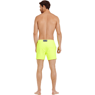 Men Flat belts Solid - Men Swimwear Short Flat Belt Stretch Prince de Galles, Neon yellow backworn