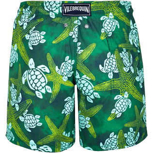 Men Classic Printed - Men Swimtrunks Starlettes & Turtles Vintage, Malachite green back