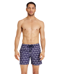 Men Classic Printed - Men Swim Trunks Hippocampes, Midnight blue frontworn