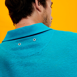 Men Others Solid - Men Linen Jersey Polo Shirt Solid, Light azure supp4