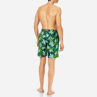 Homme Coupe longue Imprimé - Maillot de bain Homme Long Starlettes & Turtles Vintage, Malachite backworn