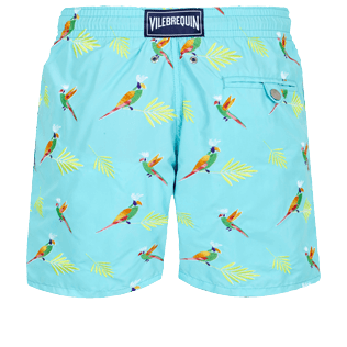 男款 Classic 绣 - Men Swimwear Embroidered Multicolore Parrots - Limited Edition, Lazulii blue back