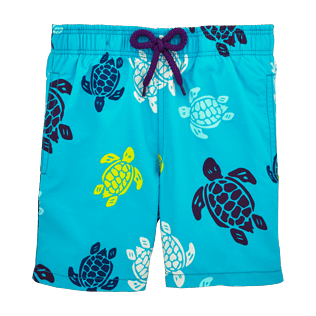 Boys Classic / Moorea Printed - Tortues Multicolores Swim Shorts, Azure front