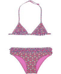 Girls Others Printed - Girls Two pieces Swimsuit Indian Ceramic, Pink berries front