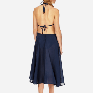 Women Others Solid - Women Long Linen Voile Pareo Skirt Solid, Navy supp2