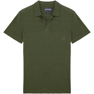 Men Polos Solid - Solid Linen jersey polo, Olive front