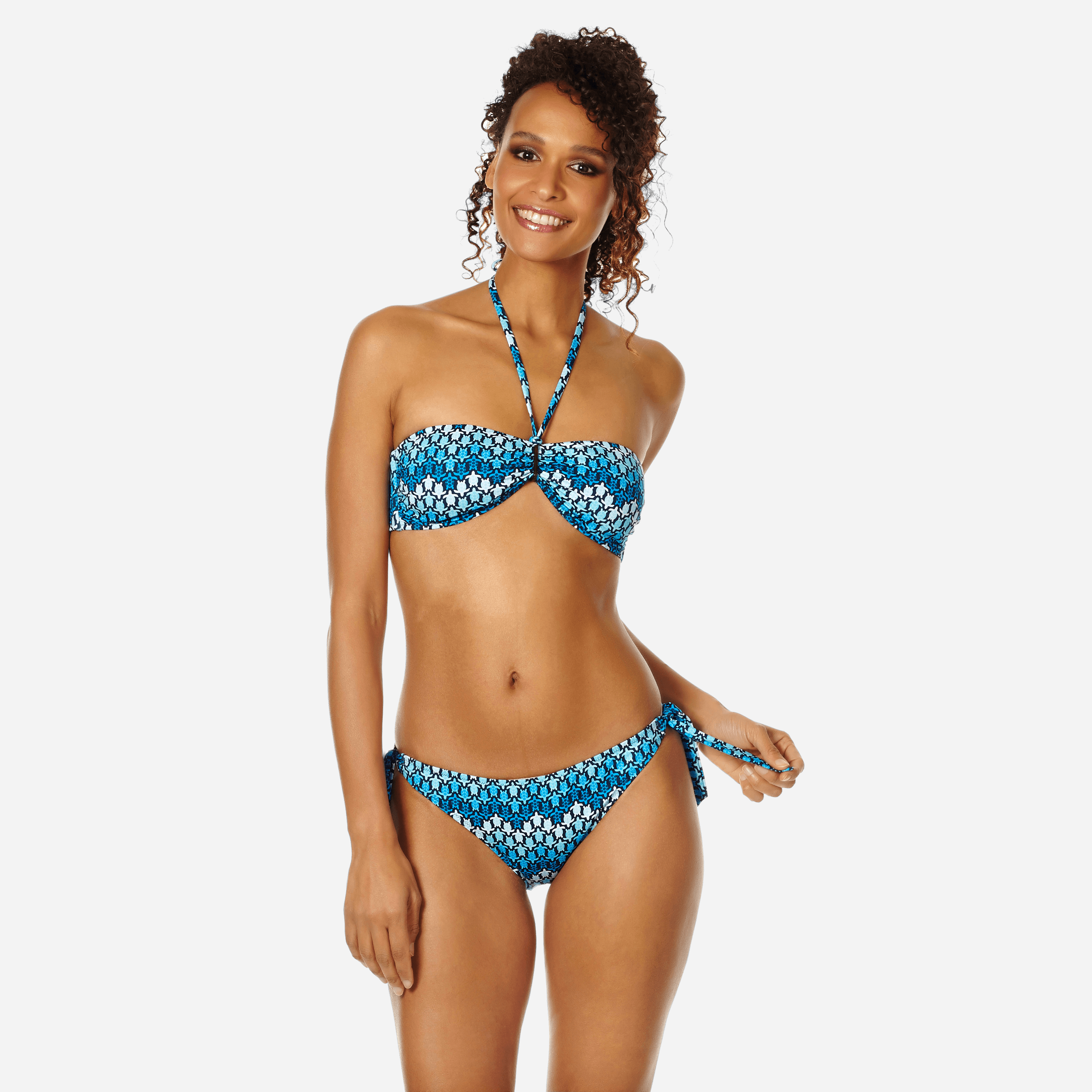 VILEBREQUIN | Women Swimwear - Women Bikini Bottom Brief To Be Tied Herringbones Turtles - SWIMMING TRUNK - FLAMME - Blue - XXS - Vilebrequin | Goxip
