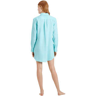 Women Others Solid - Women Long Linen Shirt Solid, Lagoon backworn