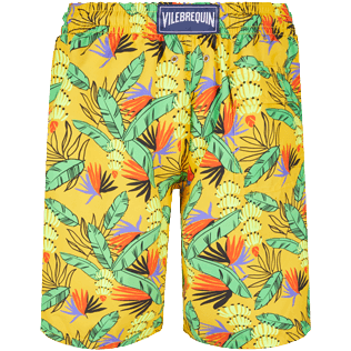 Men Long classic Printed - Men Long Swim Trunks Go Bananas, Curry back