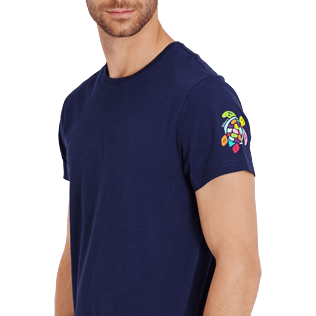 Men Others Printed - Men Cotton T-Shirt Tortues Multicolors, Navy supp1