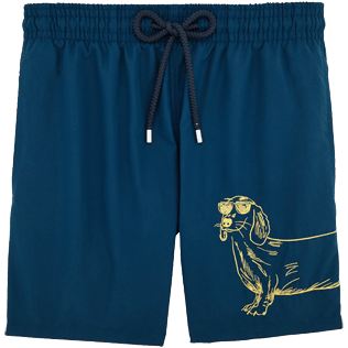 Men Embroidered Embroidered - Sunny Dog Embroidered Swimshort, Spray front