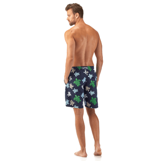 Men Long Printed - Multicolor Turtles Long Cut Swim shorts, Navy backworn