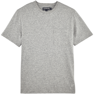 Men Tee-Shirts Solid - Pima Cotton Solid Round neck T-Shirt, Heather grey front