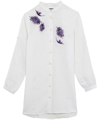 Women Others Embroidered - Women Linen Shirt Dress Embroidery Madrague, White front