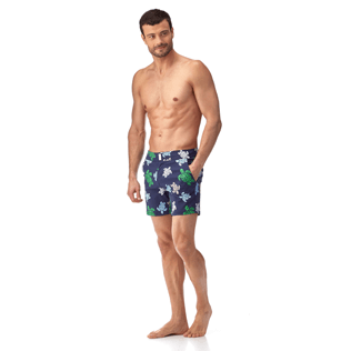 Men Fitted Printed - Multicolor Turtles Fitted cut Swim shorts, Navy frontworn