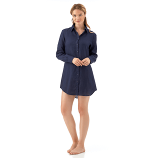 Women Shirts Solid - Long linen shirt, Navy frontworn