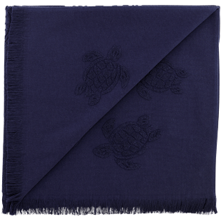 Others Solid - Fouta with fringes Turtles pattern, Navy back