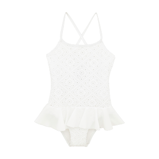 Girls Others Embroidered - Girls One Piece Swimsuit Eyelet Embroidery, White front