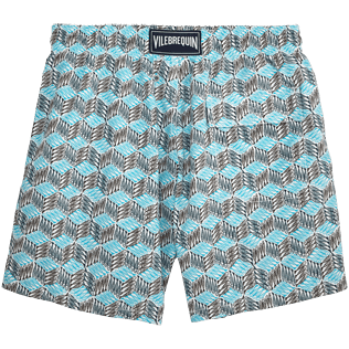 Men Classic Printed - Fishes Cube Swim shorts, Azure back